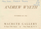 Andrew Wyeth; November 6-29, 1952 : Macbeth Gallery