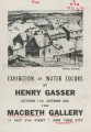 Exhibition of water colors by Henry Gasser; October 11th-October 30th, 1943