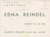 Paintings by Edna Reindel; March 12-30, 1940 : Macbeth Gallery
