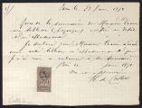 Receipt from J. de Calliers to Charles Warren Cram, 1891