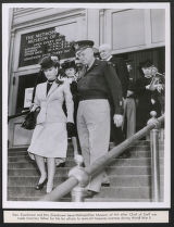 Gen. Dwight Eisenhower and Mrs. Eisenhower leaving Metropolitan Museum of Art