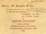 Messrs. M. Knoedler and Co. request the honor of a visit to view the first exhibition of...