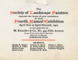 The Society of Landscape Painters requests the honor of your attendance at their fourth annual...