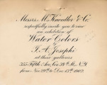 Messrs. M. Knoedler & Co. respectfully invite you to view an exhibition of water colors by...