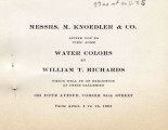 Messrs. M. Knoedler & Co. invite you to view some water colors by William T. Richards