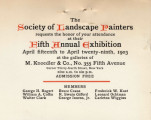 The Society of Landscape Painters requests the honor of your attendance at their fifth annual...