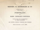 Messrs. M. Knoedler & Co. invite you to view some portraits by Mrs. Leslie Cotton