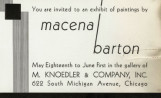 You are invited to an exhibit of paintings by Macena Barton