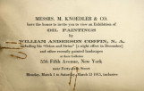 Messrs. M. Knoedler & Co. have the honor to invite you to view an exhibition of oil paintings...