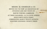 Messrs. M. Knoedler & Co. invite you to view an exhibition of etchings and dry points by David...