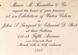 Messrs. M. Knoedler & Co. request the honor of your presence at an exhibition of water colors...