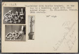 N6645 : Chandelier with double bracket. At the top is a kneeling angel with outspread wings. In...