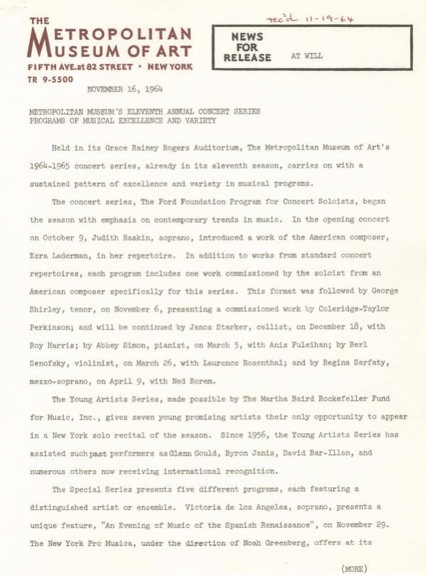 1964_019_001 - Metropolitan Museum of Art Press Kits and Press