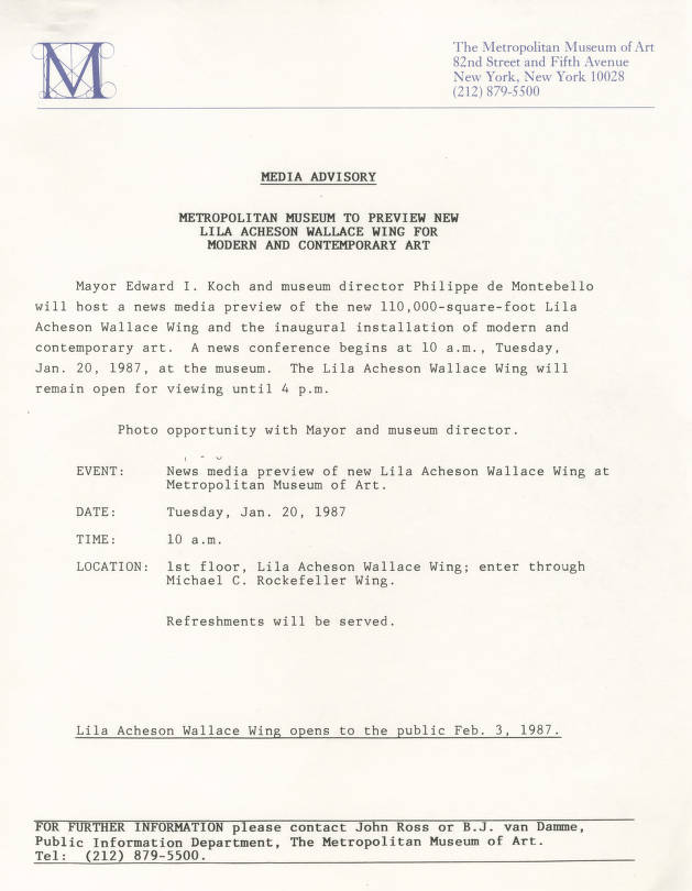 1986 002 001 Metropolitan Museum Of Art Press Kits And