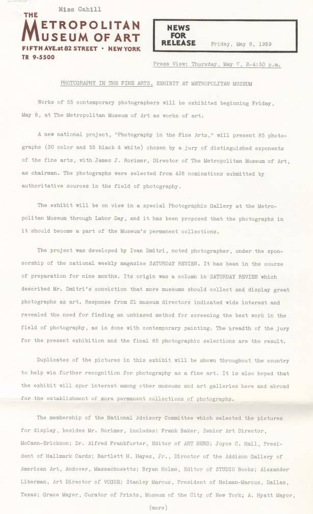 1959 010 001 Metropolitan Museum Of Art Press Kits And