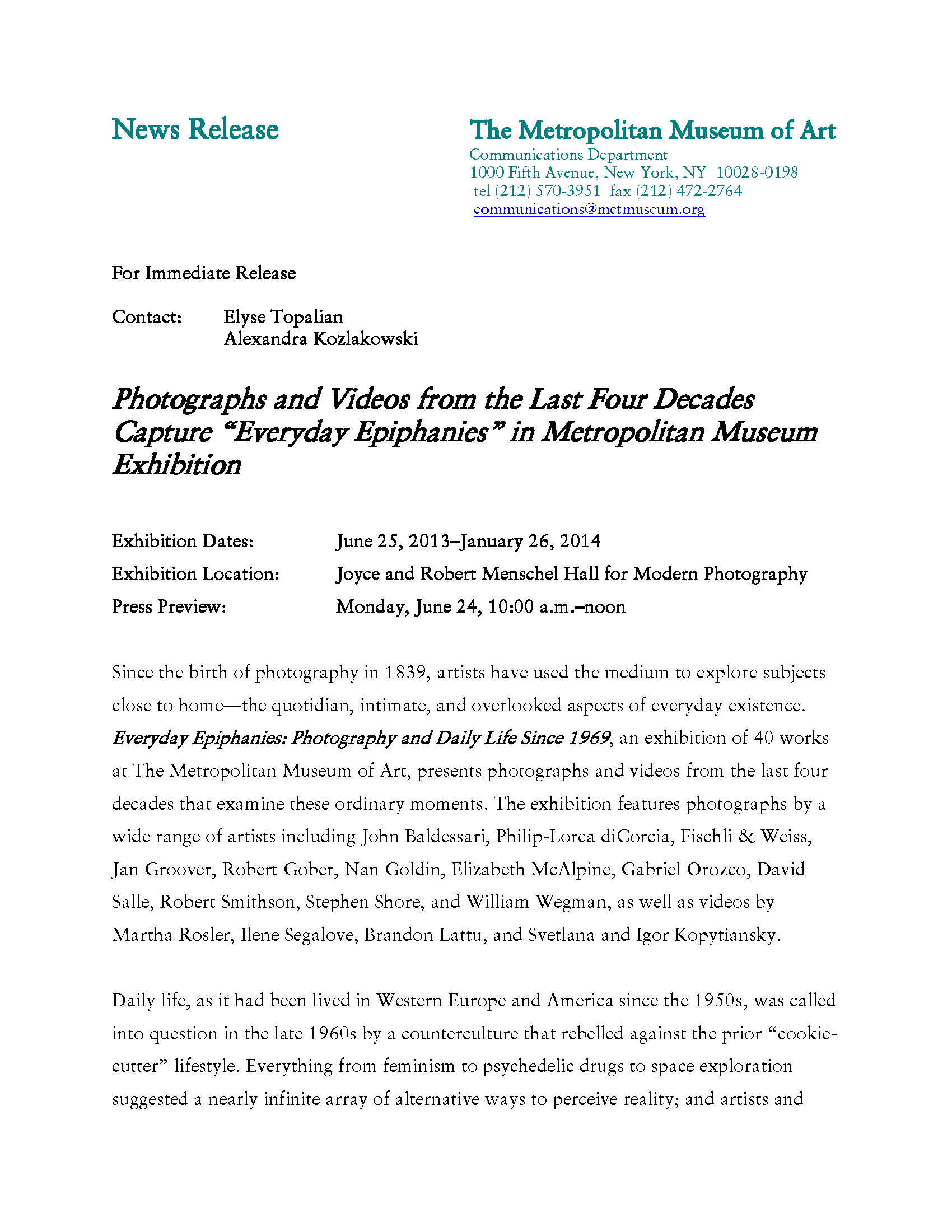 B1817614 1 Press Release Everyday Epiphanies Metropolitan